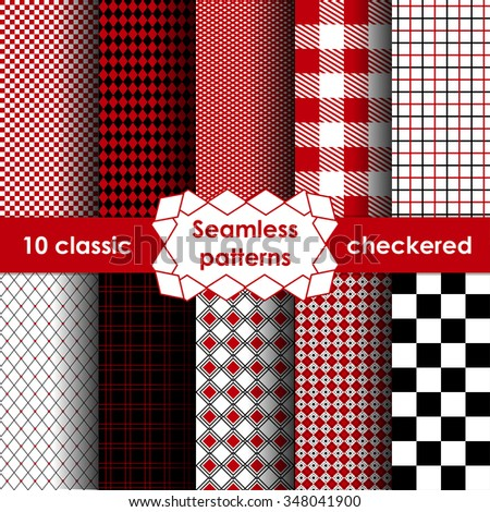 Set of checkered simple fabric seamless pattern. 10 classic ornaments - stock vector