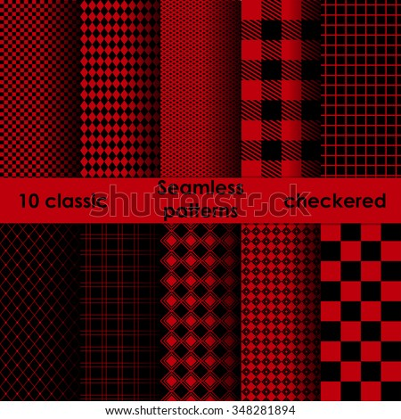 Set of checkered simple red and black fabric seamless pattern. 10 classic ornaments - stock vector