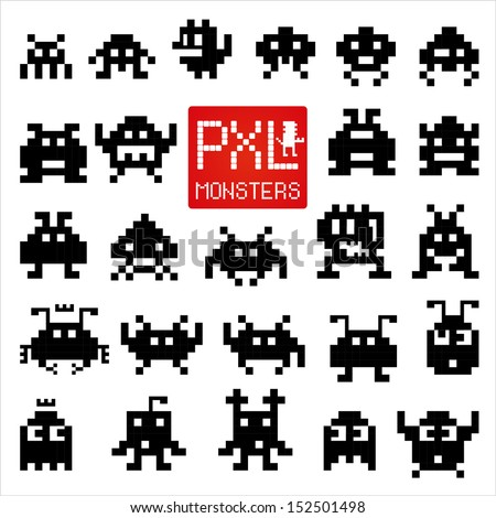 Set of cheerful and kind pixel monsters. - stock vector