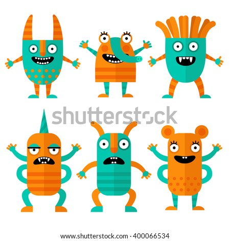 Set of cheerful and terrible monsters in a flat style. Colorful characters in cartoon style. Monsters with different emotions. - stock vector