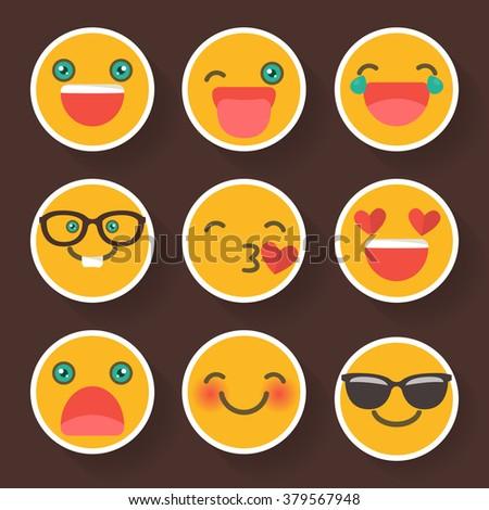 Set of cheerful smiley .Avatar. Emoji in flat design - stock vector