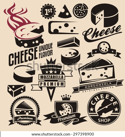 Set of cheese emblems, symbols, logo design concepts, badges, signs, icons and design elements. Dairy products collection. - stock vector