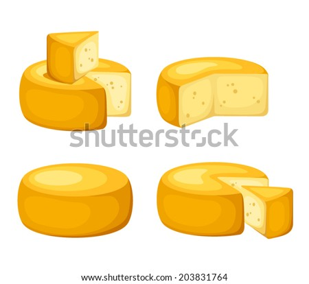 Set of cheese wheels isolated on a white background. Vector illustration. - stock vector