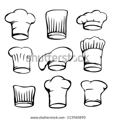 set of chef hats, white chef hat