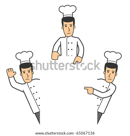 set of chef in different poses on white background - stock vector
