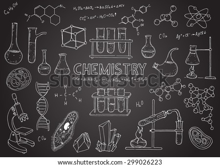 Set of chemical equipment. Vector  hand drawing icons. Vintage background. Linear illustration.  Back to School. Chemistry. Chalk board.