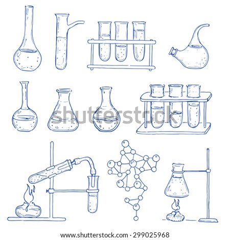 Set of chemical equipment. Vector hand drawing icons. Vintage background. Linear illustration. Back to School. Chemistry and medicine.
