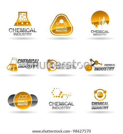 Set of chemical industry icons (Illustration of chemistry icons). - stock vector