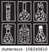 Set of chemical test tubes - hand drawn illustration - stock vector