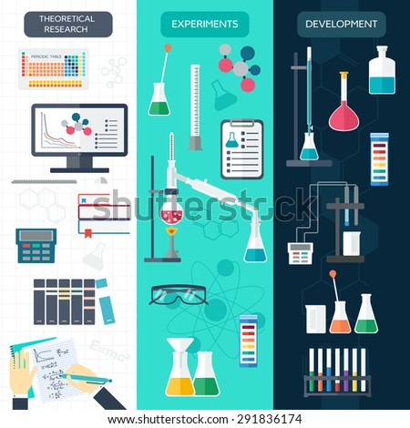 Set of chemical vertical banners. Science process. Flat design. Vector illustration - stock vector