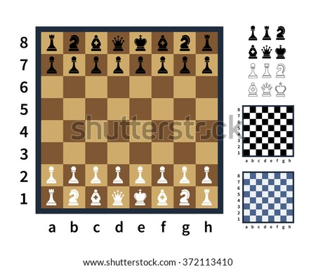 Set of chess icons and different chess boards on white - stock vector