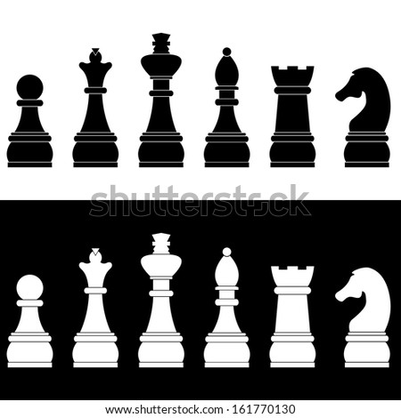 Set of chess icons, vector illustration - stock vector
