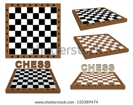 set of chessboards over white - stock vector