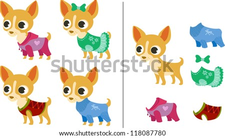 Set of chihuahua puppies and clothes - stock vector
