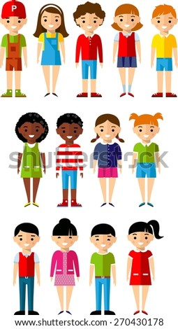 Set of children boys and girls icons. Children avatars in colorful style