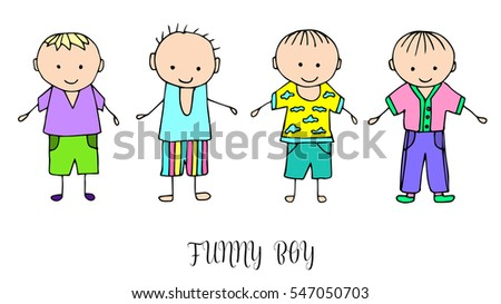 set of children drawing a boys the template for the painting hand drawn boy - Children Drawing Pictures For Painting