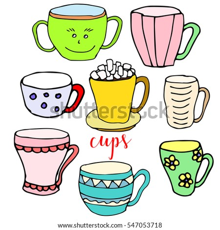Set of children drawing a cups. The template for the painting. Hand drawn dishes in a funny kids style. Cartoon. Doodles. Vector illustration isolated on white background.