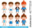 Set of children's characters in a flat style. Children - boys and girls in different clothes. Children's clothing for different seasons. Stylish girls and boys - stock vector