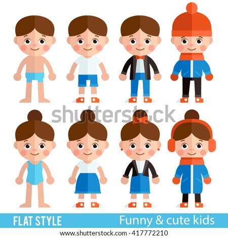 Set of children's characters in a flat style. Children - boys and girls in different clothes. Children's clothing for different seasons. Stylish girls and boys
