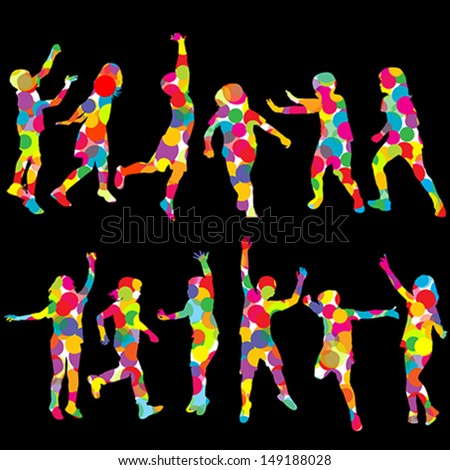 Set of children silhouettes made of colored circles - stock vector