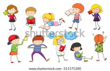Set of children studying illustration - stock vector
