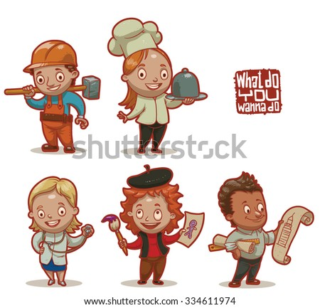 Set of children wearing in job uniforms what they will do in a future, builder, cook, artist, doctor, architect, vector - stock vector