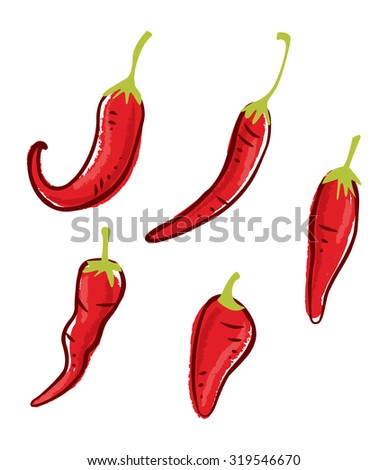 set of chili doodle isolated on white background - stock vector