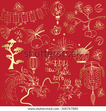 Set of China gold icons doodle on red background. Hand drawn vector illustration. - stock vector