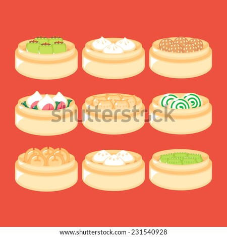 Set of Chinese Dim Sum in baskets. - stock vector