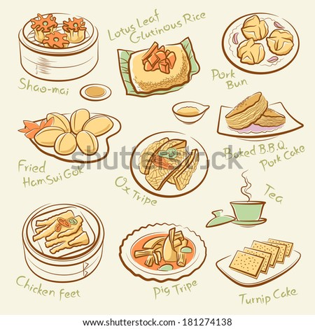 Set of chinese food.  Line drawing of cantonese cuisine, guangdong morning tea. Vector dim sum icons. Names of dishes by handwriting. File is layered with global colors. High res jpeg included. - stock vector