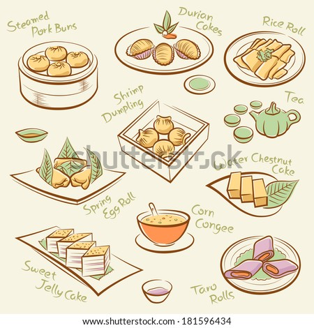 Set of chinese food.  Line drawing of cantonese cuisine, guangdong morning tea. Vector dim sum icons. Names of dishes by handwriting. File is layered with global colors. High res jpeg included.