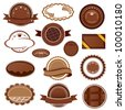 Set of chocolate badges and labels - stock vector