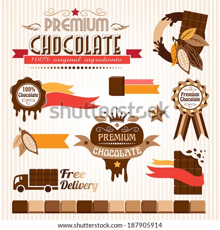Set of chocolate decorative elements - stock vector
