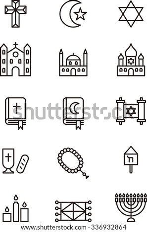 set of CHRISTIAN, JEWISH & MUSLIM RELIGION outline icons - stock vector