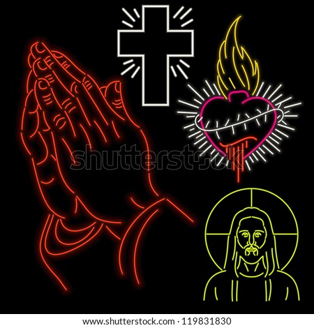 Set of christian symbols in neon isolated on black