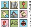 Set of christianity symbols - hand drawn illustration - stock photo