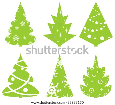 Set of Christmas abstract fur-trees.vector - stock vector