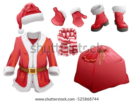 Set of Christmas accessories Santa Claus. Fur coat, hat, boots, mittens, striped scarf and bag with gifts. Isolated on white vector cartoon illustration