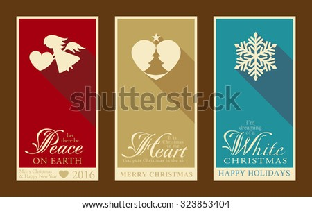 Set of 3 Christmas and Happy New Year banners with festive designs of Christmas tree, snowflake, angel and heart designs. - stock vector