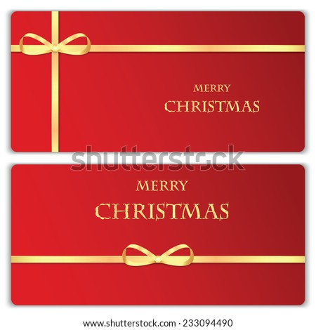 Set of Christmas and New Year banners with gold ribbons - stock vector