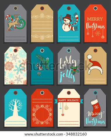 Set of 12 Christmas and New Year cute gift tags. Vector hand-drawn illustration. There is place for your text.  - stock vector