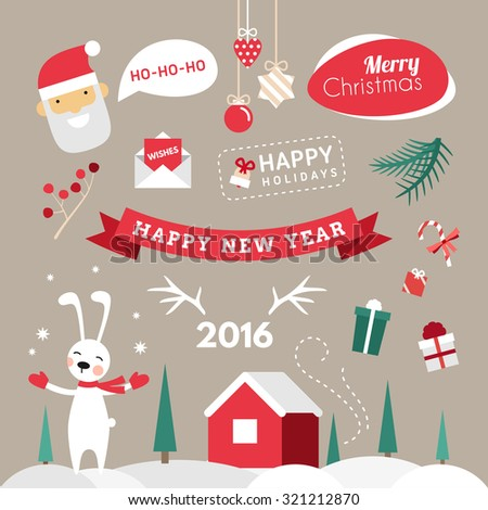 Set of Christmas and New Year Cute Vector Design Elements with Cartoon Characters - stock vector