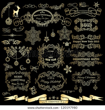 Set of Christmas and New Year design elements - stock vector