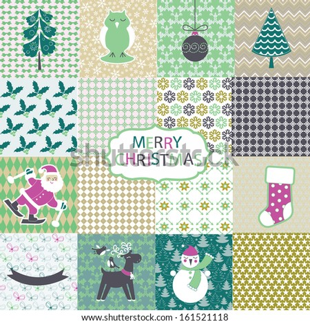 Set of Christmas and New Year elements and seamless patterns - stock vector