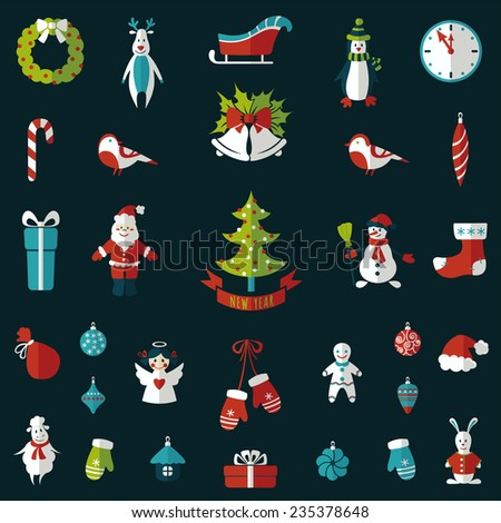 Set of Christmas and new year flat elements. Vector illustration - stock vector
