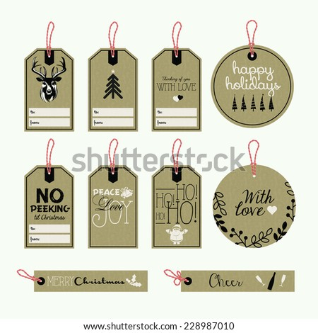 Set of Christmas and New Year gift tags - stock vector