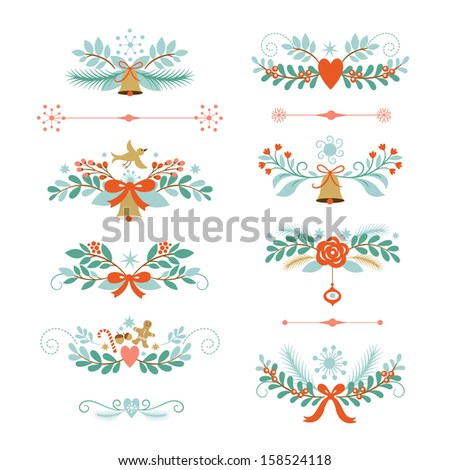 Set of Christmas and New Year graphic elements, holiday symbols, vector collection  on white background - stock vector