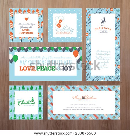 Set of Christmas and New Year greeting card templates    - stock vector