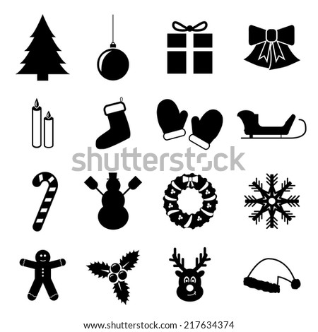 Set Of Christmas And New Year Icons