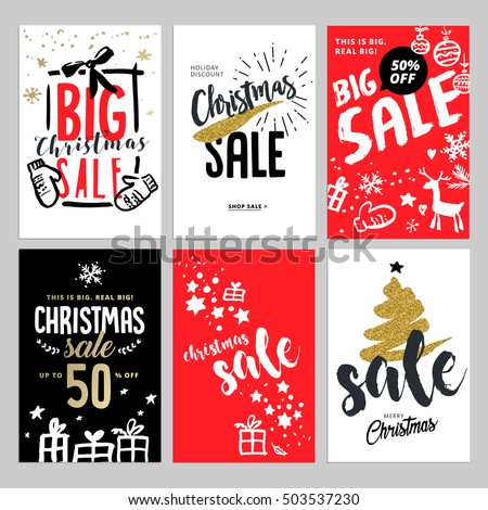 Set Christmas New Year Mobile Sale Stock Vector 503537230 ...